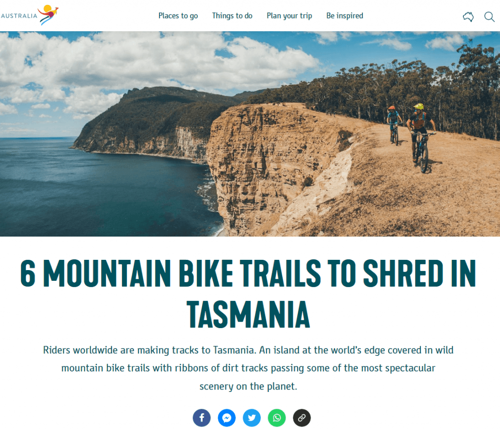 screenshot of a mountain bike article